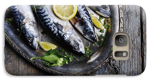 Lemon Galaxy S7 Case - Mackerels On Silver Plate by Jelena Jovanovic