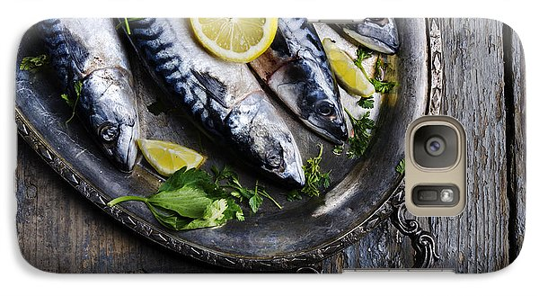 Mackerels On Silver Plate Galaxy Case by Jelena Jovanovic
