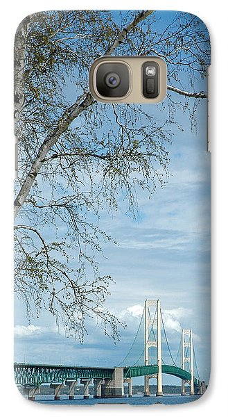 Galaxy Case featuring the photograph Mackinac Bridge Birch by LeeAnn McLaneGoetz McLaneGoetzStudioLLCcom