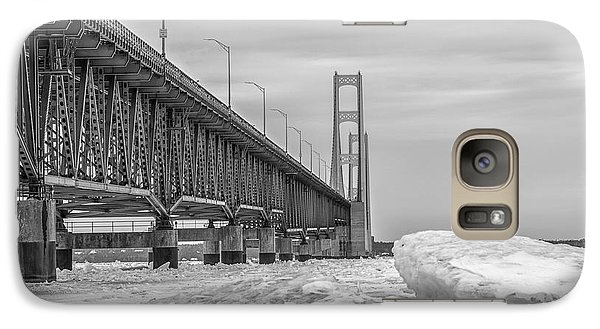 Galaxy Case featuring the photograph Mackinac Bridge Icy Black And White  by John McGraw