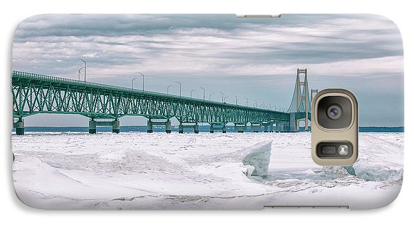 Galaxy Case featuring the photograph Mackinac Bridge In Winter During Day by John McGraw