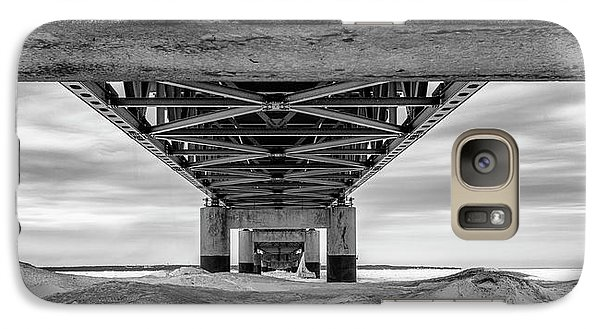 Galaxy Case featuring the photograph Mackinac Bridge In Winter Underneath  by John McGraw