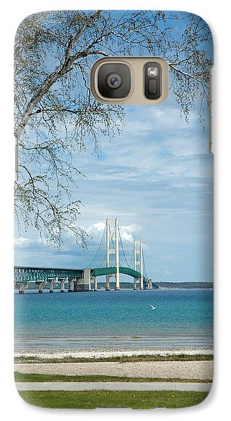 Galaxy Case featuring the photograph Mackinac Bridge Park by LeeAnn McLaneGoetz McLaneGoetzStudioLLCcom