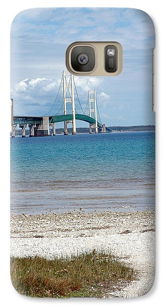 Galaxy Case featuring the photograph Mackinac Bridge Path To Lake by LeeAnn McLaneGoetz McLaneGoetzStudioLLCcom