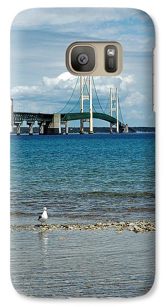 Galaxy Case featuring the photograph Mackinac Bridge Private Seagull Beach by LeeAnn McLaneGoetz McLaneGoetzStudioLLCcom
