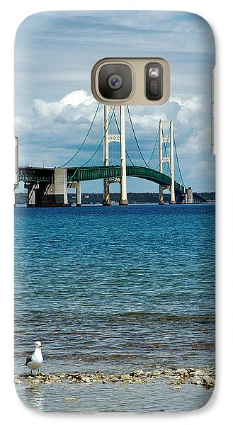 Galaxy Case featuring the photograph Mackinac Bridge With Seagull by LeeAnn McLaneGoetz McLaneGoetzStudioLLCcom