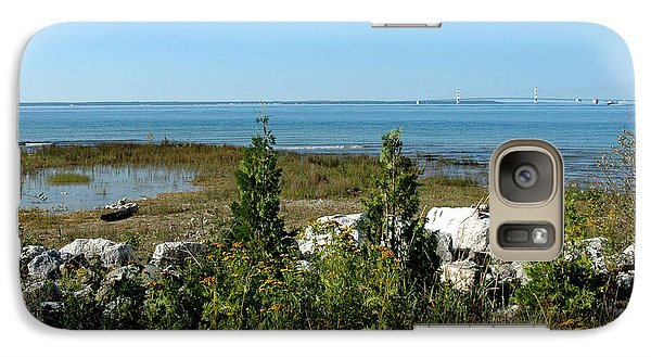 Galaxy Case featuring the photograph Mackinac Island View Of Bridge by LeeAnn McLaneGoetz McLaneGoetzStudioLLCcom