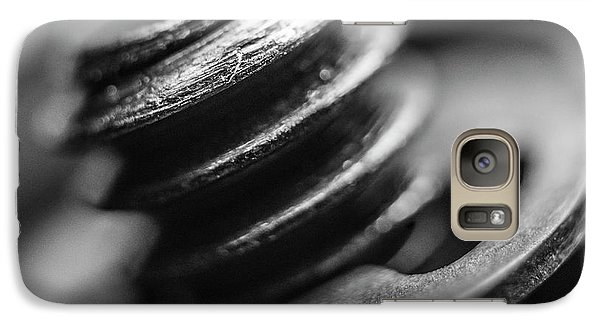 Galaxy Case featuring the photograph Macro Screw Bolt Black White by David Haskett