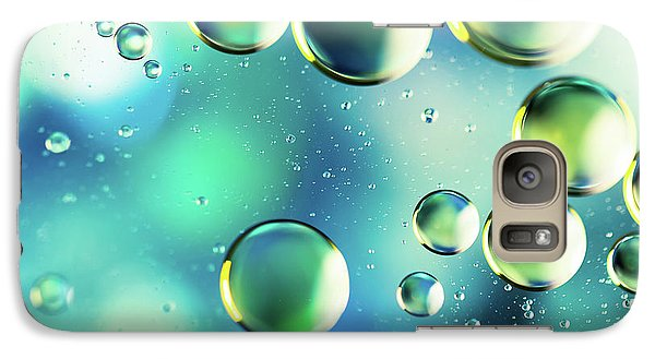 Galaxy Case featuring the photograph Macro Water Droplets Aquamarine Soft Green Citron And Blue by Sharon Mau