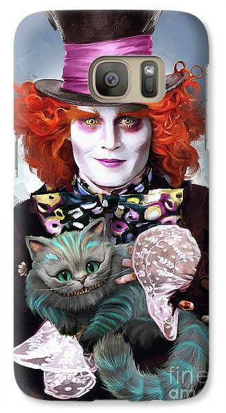 Mad Hatter And Cheshire Cat Galaxy S7 Case by Melanie D