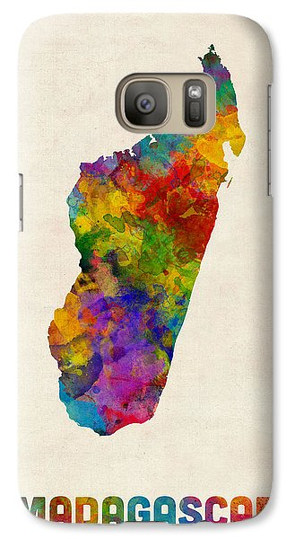 Galaxy Case featuring the digital art Madagascar Watercolor Map by Michael Tompsett