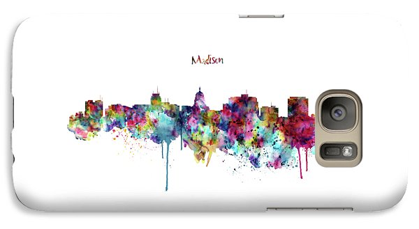 Galaxy Case featuring the mixed media Madison Skyline Silhouette by Marian Voicu