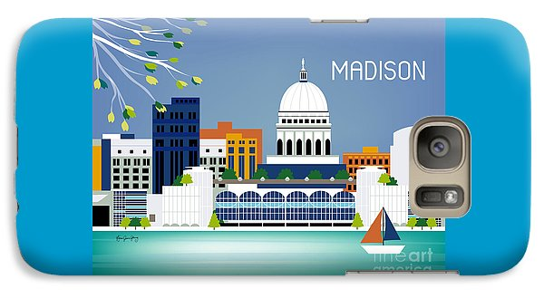 Capitol Building Galaxy S7 Case - Madison Wisconsin Horizontal Skyline by Karen Young