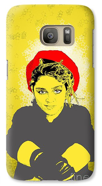 Galaxy Case featuring the drawing Madonna On Yellow by Jason Tricktop Matthews
