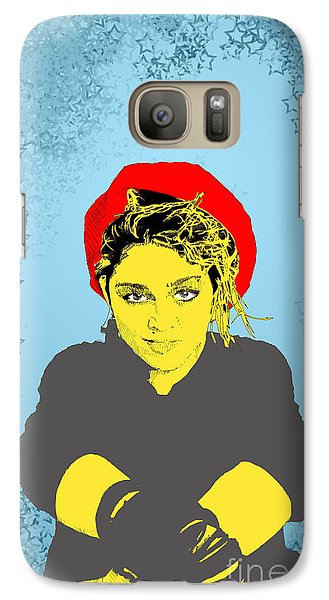 Galaxy Case featuring the drawing Madonna On Blue by Jason Tricktop Matthews