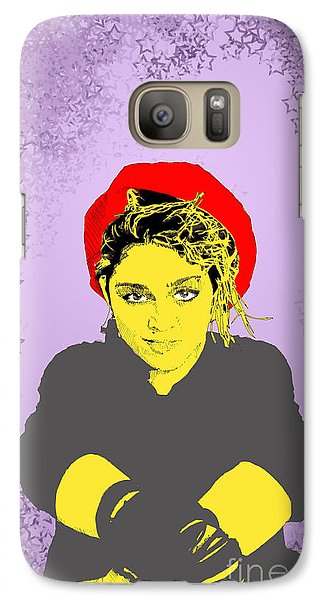 Galaxy Case featuring the drawing Madonna On Purple by Jason Tricktop Matthews