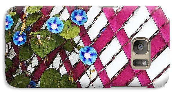 Galaxy Case featuring the photograph Magenta Chain-link by Shawna Rowe