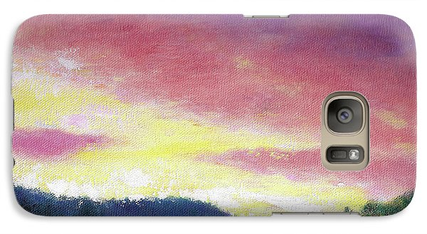 Galaxy Case featuring the painting Magenta Sunset Oil Landscape by Judith Cheng