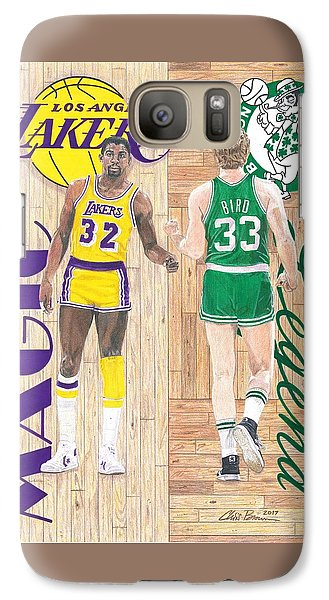 Magic Johnson And Larry Bird Galaxy S7 Case by Chris Brown