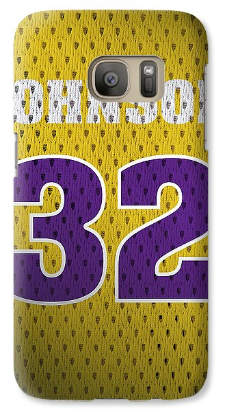 Magic Johnson Galaxy S7 Case - Magic Johnson Los Angeles Lakers Number 32 Retro Vintage Jersey Closeup Graphic Design by Design Turnpike