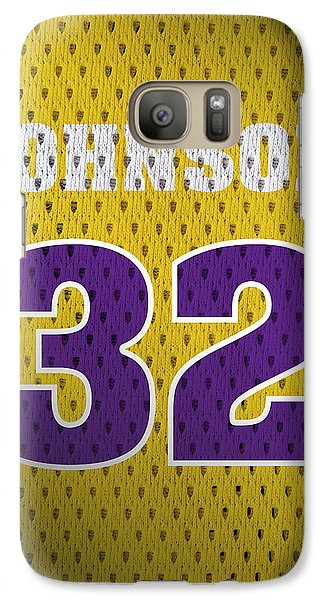 Magic Johnson Los Angeles Lakers Number 32 Retro Vintage Jersey Closeup Graphic Design Galaxy Case by Design Turnpike