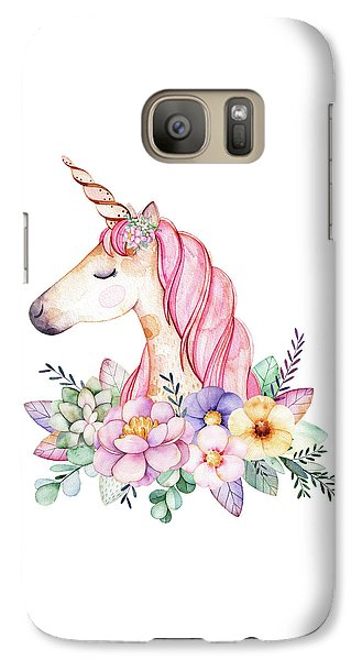 Extinct And Mythical Galaxy S7 Case - Magical Watercolor Unicorn by Lisa Spence