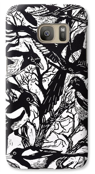 Magpies Galaxy Case by Nat Morley