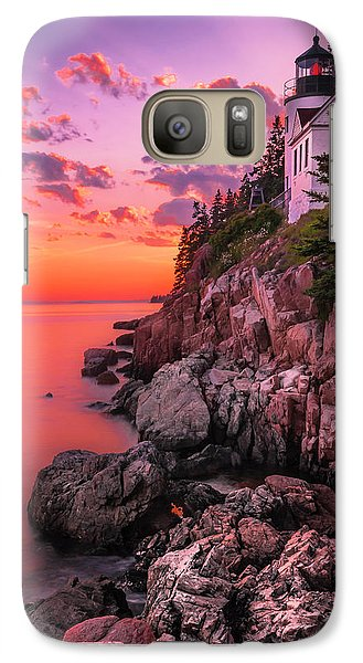 Galaxy Case featuring the photograph Maine Bass Harbor Lighthouse Sunset by Ranjay Mitra