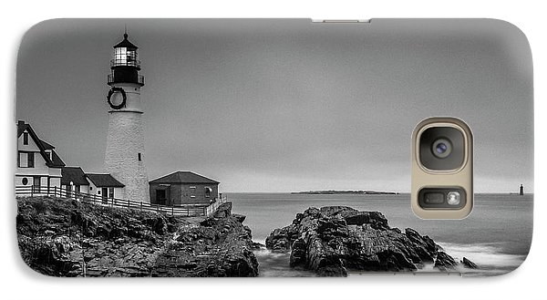 Galaxy Case featuring the photograph Maine Cape Elizabeth Lighthouse Aka Portland Headlight In Bw by Ranjay Mitra