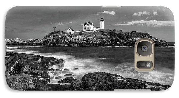 Galaxy Case featuring the photograph Maine Cape Neddick Lighthouse In Bw by Ranjay Mitra