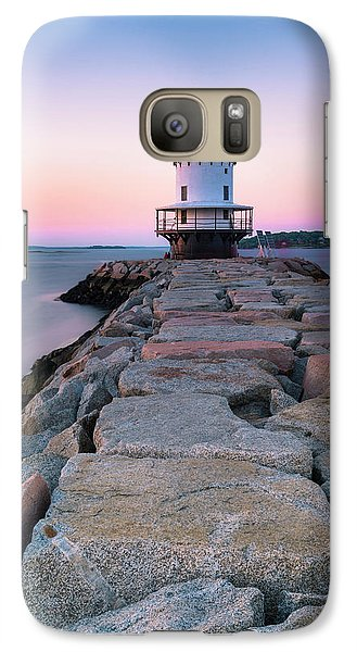 Galaxy Case featuring the photograph Maine Coastal Sunset Over The Spring Breakwater Lighthouse by Ranjay Mitra