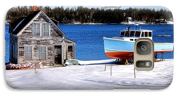 Galaxy Case featuring the photograph Maine Harbor Winter Scene by Olivier Le Queinec