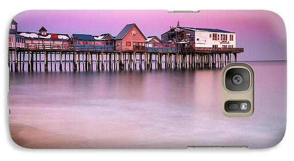 Galaxy Case featuring the photograph Maine Old Orchard Beach Pier Sunset  by Ranjay Mitra