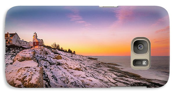 Galaxy Case featuring the photograph Maine Pemaquid Lighthouse In Winter Snow by Ranjay Mitra