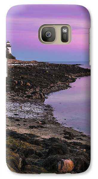 Galaxy Case featuring the photograph Maine Prospect Harbor Lighthouse Sunset In Winter by Ranjay Mitra