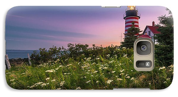 Galaxy Case featuring the photograph Maine West Quoddy Head Lighthouse Sunset by Ranjay Mitra