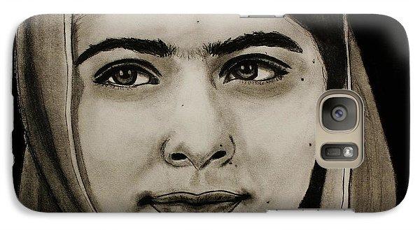 Galaxy Case featuring the drawing Malala Yousafzai- Teen Hero by Michael Cross