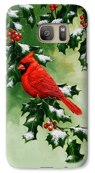 Male Cardinal And Holly Phone Case Galaxy S7 Case by Crista Forest