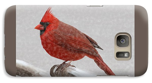 Galaxy Case featuring the painting Male Cardinal In Snow by Rand Herron