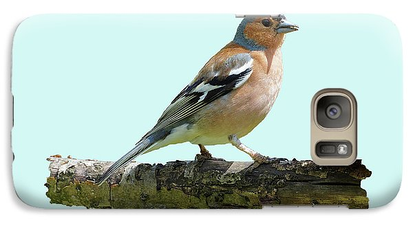 Galaxy Case featuring the photograph Male Chaffinch, Blue Background by Paul Gulliver