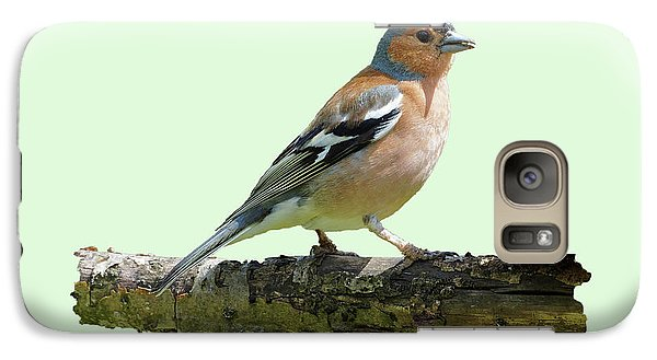 Galaxy Case featuring the photograph Male Chaffinch, Green Background by Paul Gulliver