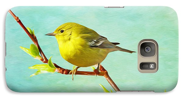 Warbler Galaxy S7 Case - Male Pine Warbler On Forsythia Branch by Laura D Young