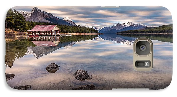 Galaxy Case featuring the photograph Maligne Lake Boat House Sunrise by Pierre Leclerc Photography