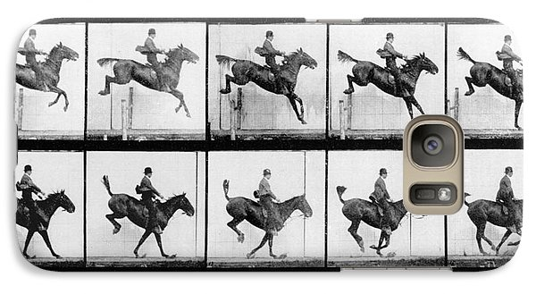 Horse Galaxy S7 Case - Man And Horse Jumping by Eadweard Muybridge