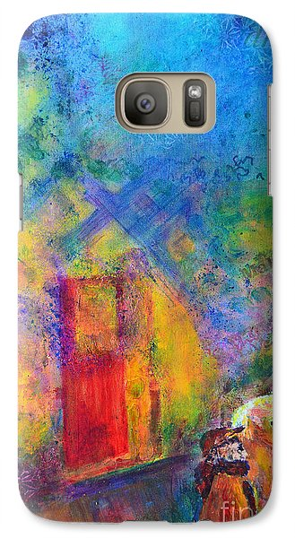 Galaxy S7 Case featuring the painting Man And Horse On A Journey by Claire Bull