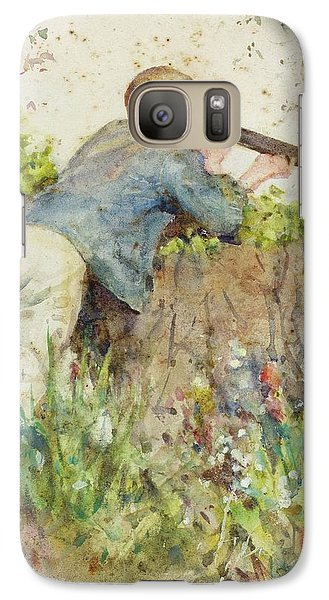 Galaxy Case featuring the painting Man Looking Through A Telescope by Henry Scott Tuke