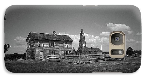 Galaxy Case featuring the photograph Manassas Battlefield Farmhouse 2 Bw by Frank Romeo