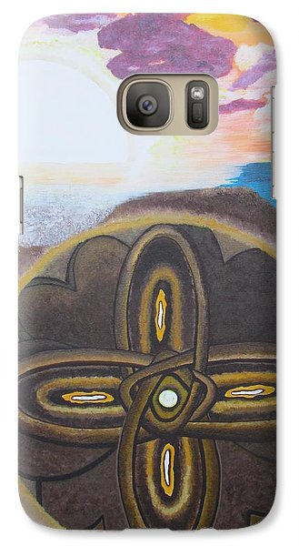 Galaxy Case featuring the painting Mandala In The Sand by Cheryl Bailey