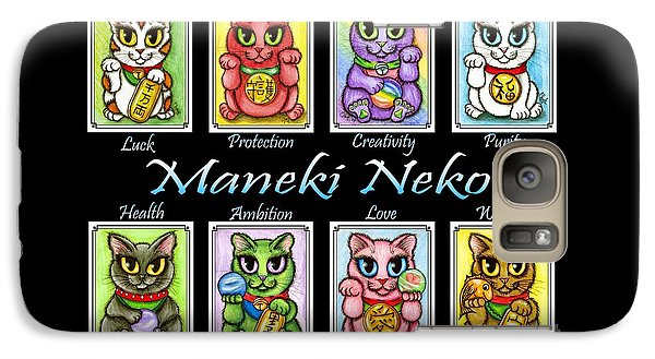 Galaxy Case featuring the painting Maneki Neko Luck Cats by Carrie Hawks
