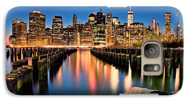 Manhattan Skyline At Dusk Galaxy Case by Az Jackson